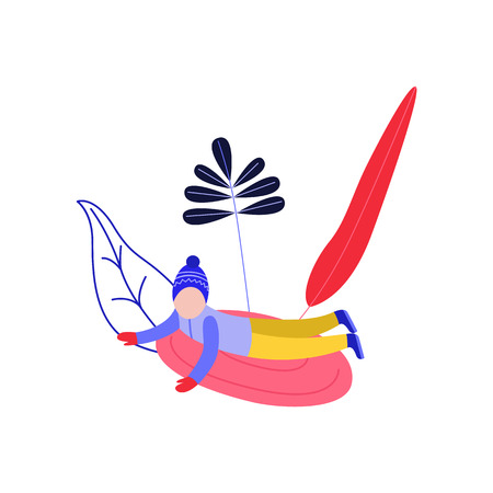 Flat boy kid in hat sledging at inflatable tube, snowtubing outdoors in winter in warm clothing on abstract floral elements background. Male child character and leisure activity. Vector illustration.