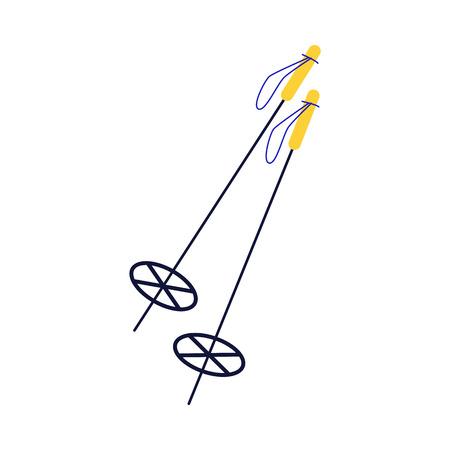 Flat ski sticks with yellow handles icon. Winter extreme mountain sport, leisure activity equipment element. Outdoor activity. Vector isolated illustration. Stock Illustratie