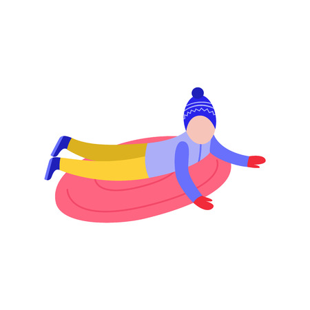 Flat boy kid in hat sledging at inflatable tube, snowtubing outdoors in winter in warm clothing and long black hairs. Male child character and leisure activity. Vector illustration.