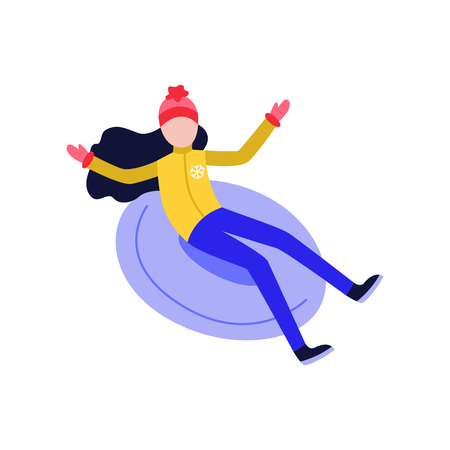 Flat girl in hat sledging at inflatable tube, snowtubing outdoors in winter in warm clothing and long black hairs. Female character, woman and leisure activity. Vector illustration. Illustration