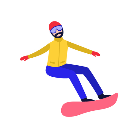 Flat adult man with beard in hat and goggles riding at snowboard, snowboarding outdoors in winter in warm clothing. Male character and leisure extreme activity. Vector illustration.