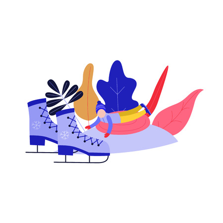 Flat boy kid in hat sledging at inflatable tube, snowtubing outdoors in winter in warm clothing on abstract florals, ice skates background. Male child character leisure activity. Vector illustration.