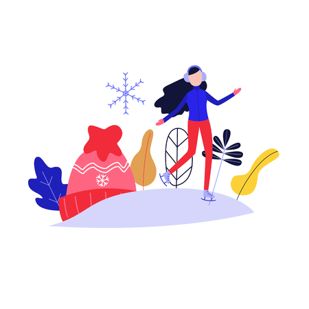Winter poster with flat girl in headphones ice-skating outdoors in winter in warm clothing on background of knitted hat, snowflake and abstract florals. Female character and sport. Vector illustration