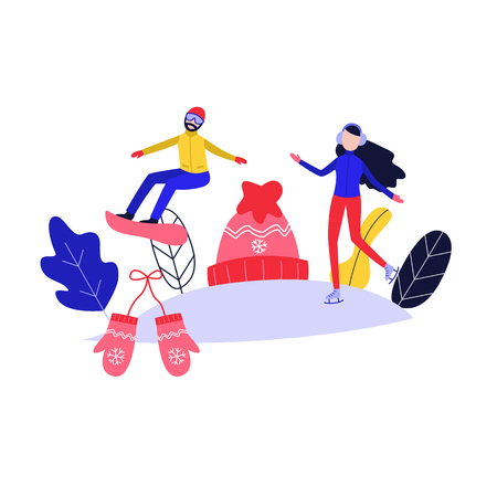 Winter poster with flat girl in headphones ice-skating, man snowboarding outdoors in winter on background of knitted hat, mittens snowflake and abstract florals. Female character and sport. Vector