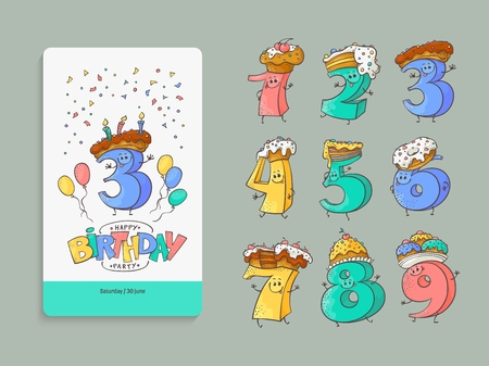 Birthday anniversary numbers cartoon characters with sweet cakes and pies for hats and invitation card template set - cute hand drawn kid b-day banner elements in isolated vector illustration. Иллюстрация