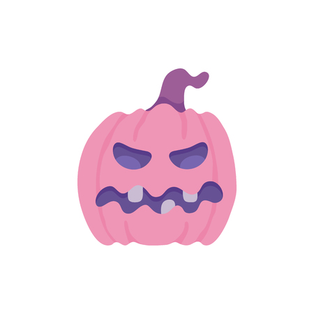Spooky pumpkin with scary face. Jack o lantern autumn seasonal halloween holiday symbol on abstract floral background elements. Trick or treat traditional horror kids celebration. Vector illustration Stok Fotoğraf - 114776415