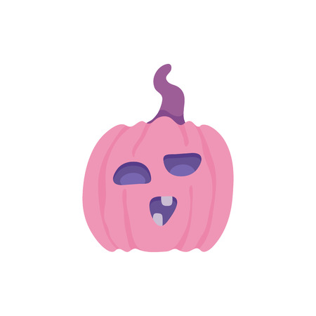 Spooky pumpkin with scary face. Jack o lantern autumn seasonal halloween holiday symbol on abstract floral background elements. Trick or treat traditional horror kids celebration. Vector illustration Çizim
