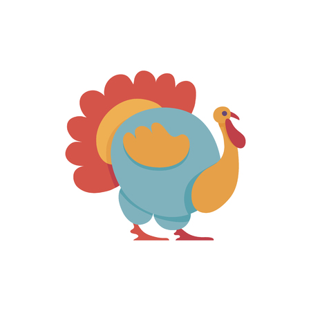 Big colorful turkey in flat style isolated on white background - male domestic bird with bright tail and wattle for farm or thanksgiving day design in vector illustration.
