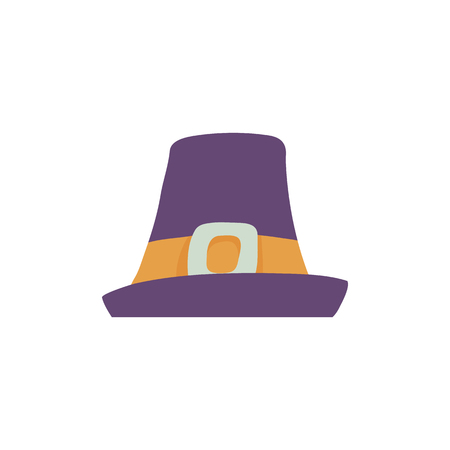 Violet pilgrim hat with wide brim in flat style isolated on white background - man cap with yellow band and metal buckle for traveling or thanksgiving day design in vector illustration. Banque d'images - 114776425