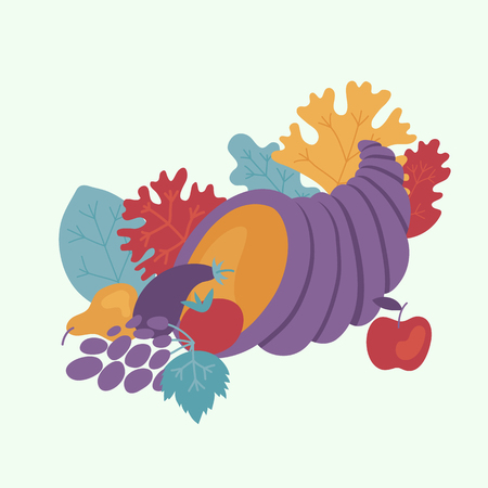 Happy thanksgiving day design element with cornucopia full of ripe vegetables and fruits isolated on white background. Symbol of food abundance for autumn holiday in flat vector illustration. Foto de archivo - 114776428