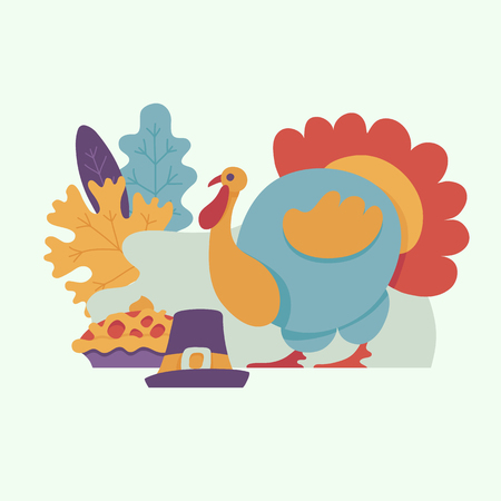 Turkey, pilgrim hat with buckle, thanksgiving pie on background of abstract autumn leaves. Vector cartoon illustration with symbols of thanksgiving set. Sign of autumn, harvest and farming.