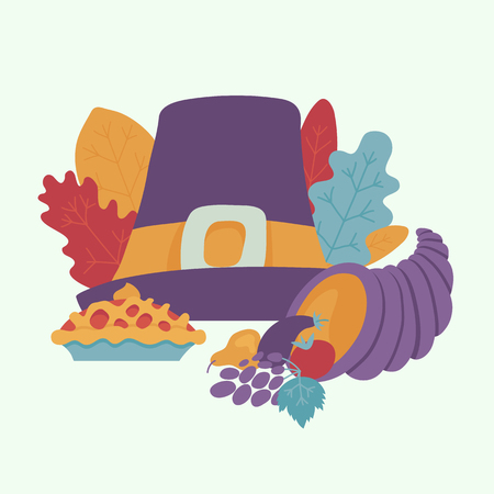 Pilgrim hat with buckle, thanksgiving pie, cornucopia and autumn forest symbols - leaves, berries pattern. Cartoon vector illustration. Sign of thanksgiving holiday, autumn and harvest.