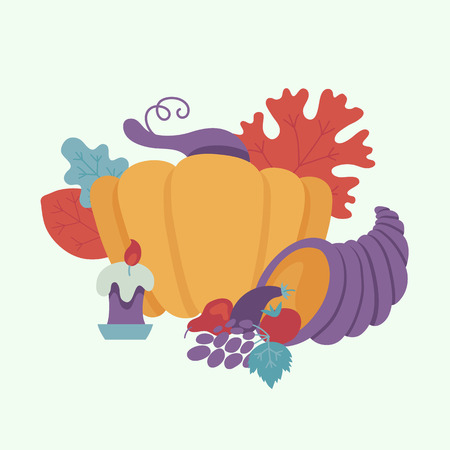 Horn of plenty or cornucopia, pumpkin with candle and autumn forest symbols - leaves, berries pattern. Cartoon vector illustration. Sign of thanksgiving holiday, autumn and harvest.