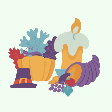 Pilgrim hat with buckle, cornucopia, pumpkin with candle and autumn forest symbols - leaves, berries pattern. Cartoon vector illustration. Sign of thanksgiving holiday, autumn and harvest.