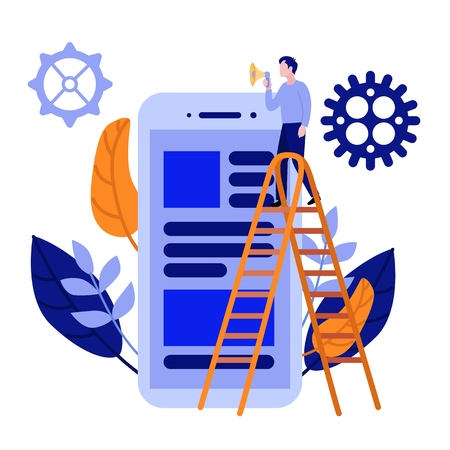 Flat men IT, software developer designer standing at stairway ladder speaking in loudspeaker megaphone near big scrum agile board on smartphone screen with daily tasks. Vector illustration.