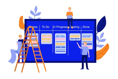 Flat men IT, software developer or designer sitting on big scrum agile board with daily tasks, kan ban desk with sticky notes for visual management teamwork climbing stairway set. Vector illustration. Stock Illustratie