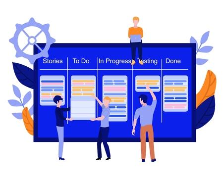 Flat men IT, software developer or designer sitting on big scrum agile board with daily tasks, kan ban desk with sticky notes, holding placard set. Vector illustration. Illustration