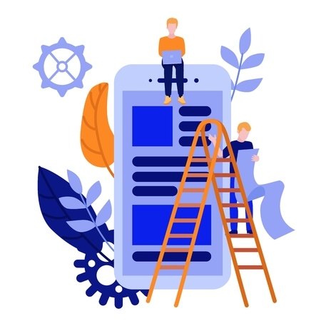 Flat men IT, software developer designer sitting on big scrum agile board on smartphone scrin with daily tasks, climbing stairway ladder set on abstract leaves, gears background. Vector illustration.
