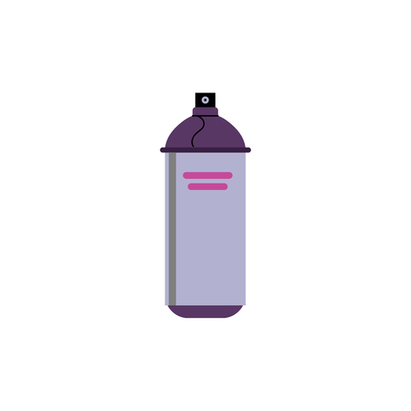 Flat spray, aerosol paint purple can icon. Street art, graffiti equipment, hairspray or deodorant metal container. Vector illustration Illustration
