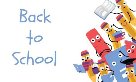 Plantilla de póster de regreso a la escuela con lindos personajes de lápiz y material escolar: borrador, regla con libros con bufanda, gorro de graduación. Símbolos de educación hymanized vector feliz con emociones faciales