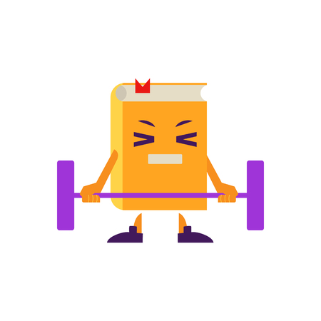 Cartoon book character athlete working out in gym doing barbell powerlifting exercise with tension in face. Vector humanized sport textbook for kindergarten, preschool and school kids design.