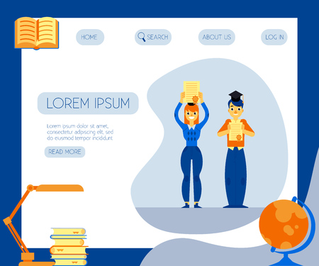 Happy students graduate holding diploma in their hands on web page template - flat male and female characters with certificates of successful completion of studies in vector illustration. Illustration