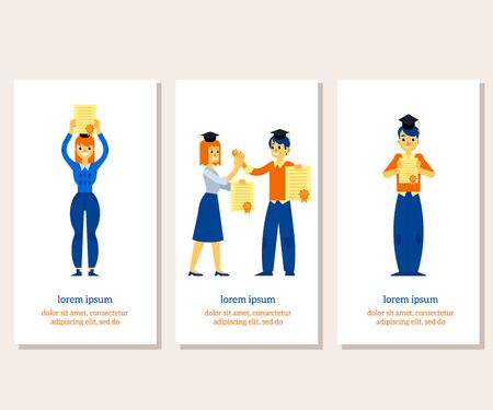 Happy students graduate in square academic caps holding diplomas in their hands - vertical banners set of successful completion of studies concept in flat vector illustration.