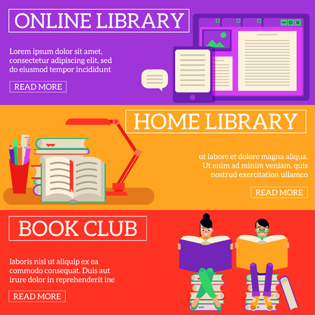 Reading and learning process horizontal banners set with online and home library and people with big open books - flat vector illustration of literary leisure and education concept.