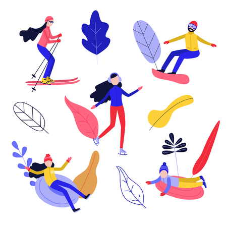 Flat people enjoying winter sports with abstract floral elements background set. Man snowboarding, women skiing and ice-skating, girl and boy kid snowtubing outdoors . Vector illustration