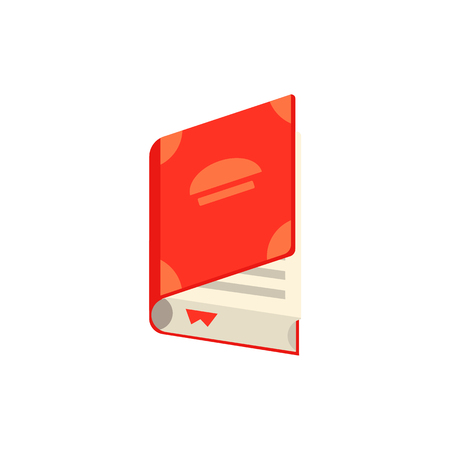 Flat opened book with red bookmark tag. Paper symbol of education, library literature and wisdom. School, college or university studying equipment. Vector isolated illustration. Illustration
