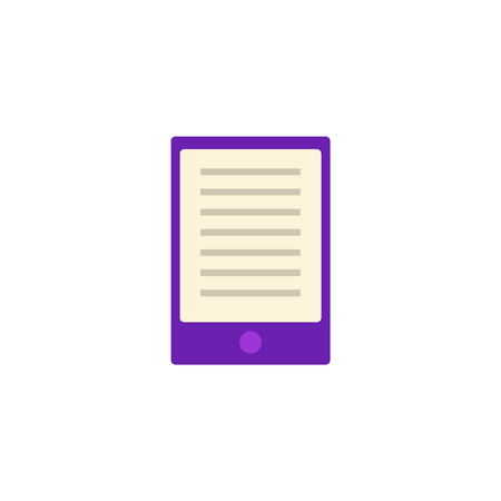 Flat purple tablet or palmtop with text at screen . Digital symbol of education, library literature and wisdom. School, college or university studying equipment. Vector isolated illustration. Иллюстрация