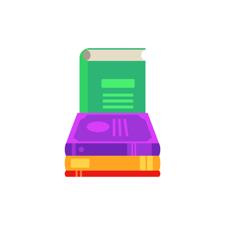 Flat book pile or column. Paper symbol of education, library literature and wisdom. School, college or university studying equipment. Vector isolated illustration.