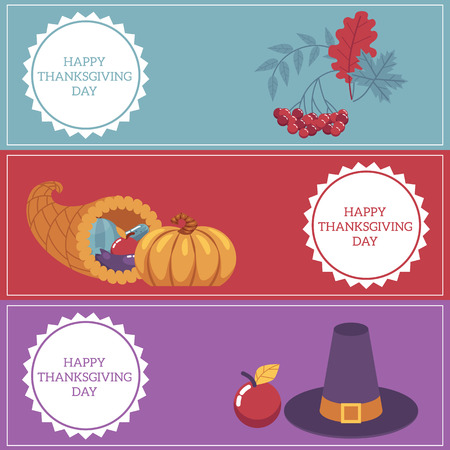 Thanksgiving day congratulation horizontal banners set with images of traditional holiday symbols on colorful backgrounds - flat vector illustration of autumn family event.