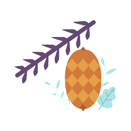 Pinecone on spruce, pine or fir tree branch. Symbol of christmas, new year holiday. Xmas seasonal forest decoration, natural hand drawn icon. Vector isolated illustration.
