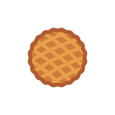 Icona della torta del ringraziamento. Festa del Ringraziamento e simbolo della celebrazione del raccolto autunnale. Mela piatta, torta di zucca. Pasto americano tradizionale. Illustrazione vettoriale isolato