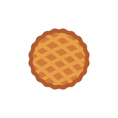 Thanksgiving pie icon. Thanksgiving holiday and autumn harvest celebration symbol. Flat apple, pumpkin cake. Traditional american meal. Vector isolated illustration Stockfoto - 106079689