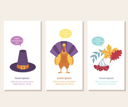 Thanksgiving day congratulation vertical banners set with images of traditional holiday symbols on white background - flat vector illustration of greeting cards for autumn family event.