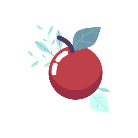 Ripe red apple with green leaf on abstract floral elements background. Organic fresh food icon for dieting, healthy lifestyle design decoration. Isolated vector illustration Ilustracja