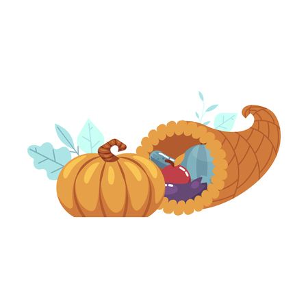 Horn of planty or cornucopia flat icon with vegetables - pumpkin, apple, eggplant grape and pear. Symbol of thanksgiving holiday autumn harvest celebration. Traditional decoration, vector illustration