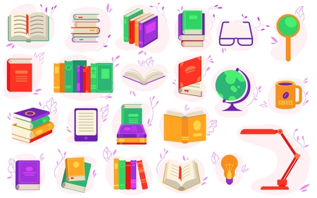 Paper and electronic books set with various close and open literature objects and accessories for reading isolated on white background. Education or literary leisure in flat vector illustration.