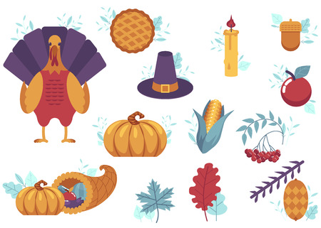 Thanksgiving holiday set. Autumn, harvest and thanksgiving symbols - horn of planty, cornucopia, hat pumpkin apple pie, turkey leaves vegetables. Vector illustration Illustration