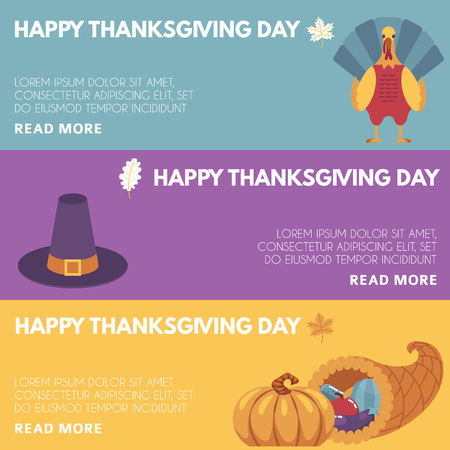 Thanksgiving day congratulation horizontal banners set with images of traditional holiday symbols on colorful backgrounds. Flat vector illustration of autumn family event.