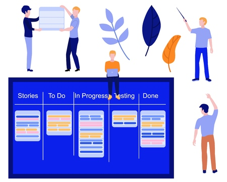 Flat men IT, software developer or designer sitting on big scrum agile board with daily tasks, kan ban desk with sticky notes for visual management and teamwork set. Vector illustration.
