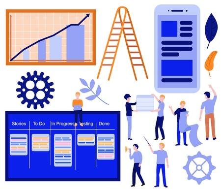 Flacher Kanban, Scrum Agile Concept Elements Set. Geschäftsleute, Softwareentwickler, die am Aufgabenbrett mit Laptop sitzen und in der Nähe des Diagramms, der hölzernen Leitertreppe, der Zahnräder und der mobilen App kommunizieren. Vektor