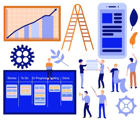 Flat kanban, scrum agile concept elements set. Business men, software developers sitting at task board with laptop, communicating near graph chart, wooden ladder stairway, gears and mobile app. Vector Ilustração