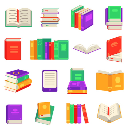 Paper and electronic books set with various close and open reading objects isolated on white background. Flat elements for education or literary leisure in vector illustration.