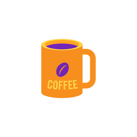 Cup of coffee icon in yellow and violet colors - mug with hot energy drink for breakfast or coffee break isolated on white background. Invigorating beverage in flat vector illustration.