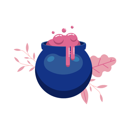 Witch magic potion in cauldron isolated on white background with decoration - sorcery pink liquid with bubbles and splashes in deep blue boiler for halloween design in flat style, vector illustration. Stock Illustratie