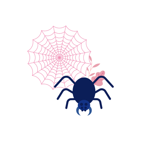 Cartoon spooky balck spider in net. Halloween holiday symbol, trick or treat traditional autumn horror kids celebration. Vector illustration Illustration