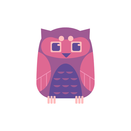 Cute sitting owl - wild predator bird with funny face and large eyes isolated on white background. Nocturnal animal for natural or halloween design in flat style, vector illustration.